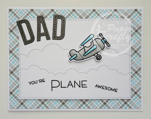 Handmade funny Fathers Day card with aeroplane (using Plane and simple stamp set from Lawn Fawn)