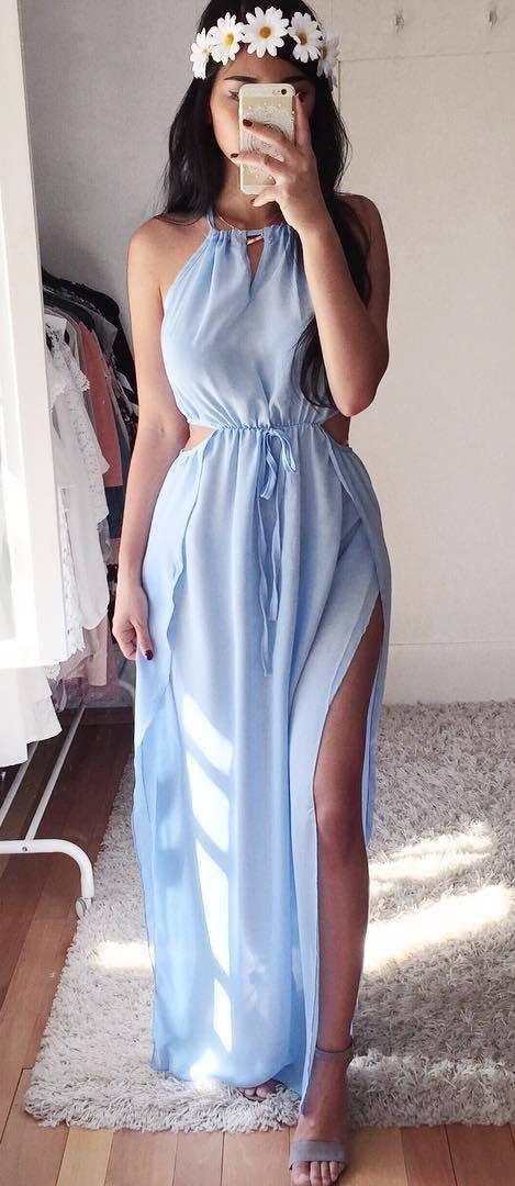 bohemian style perfection: blush maxi dress + heels