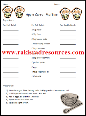 Free doubling and halving worksheet for apple carrot muffins - math activity from Raki's Rad Resources.