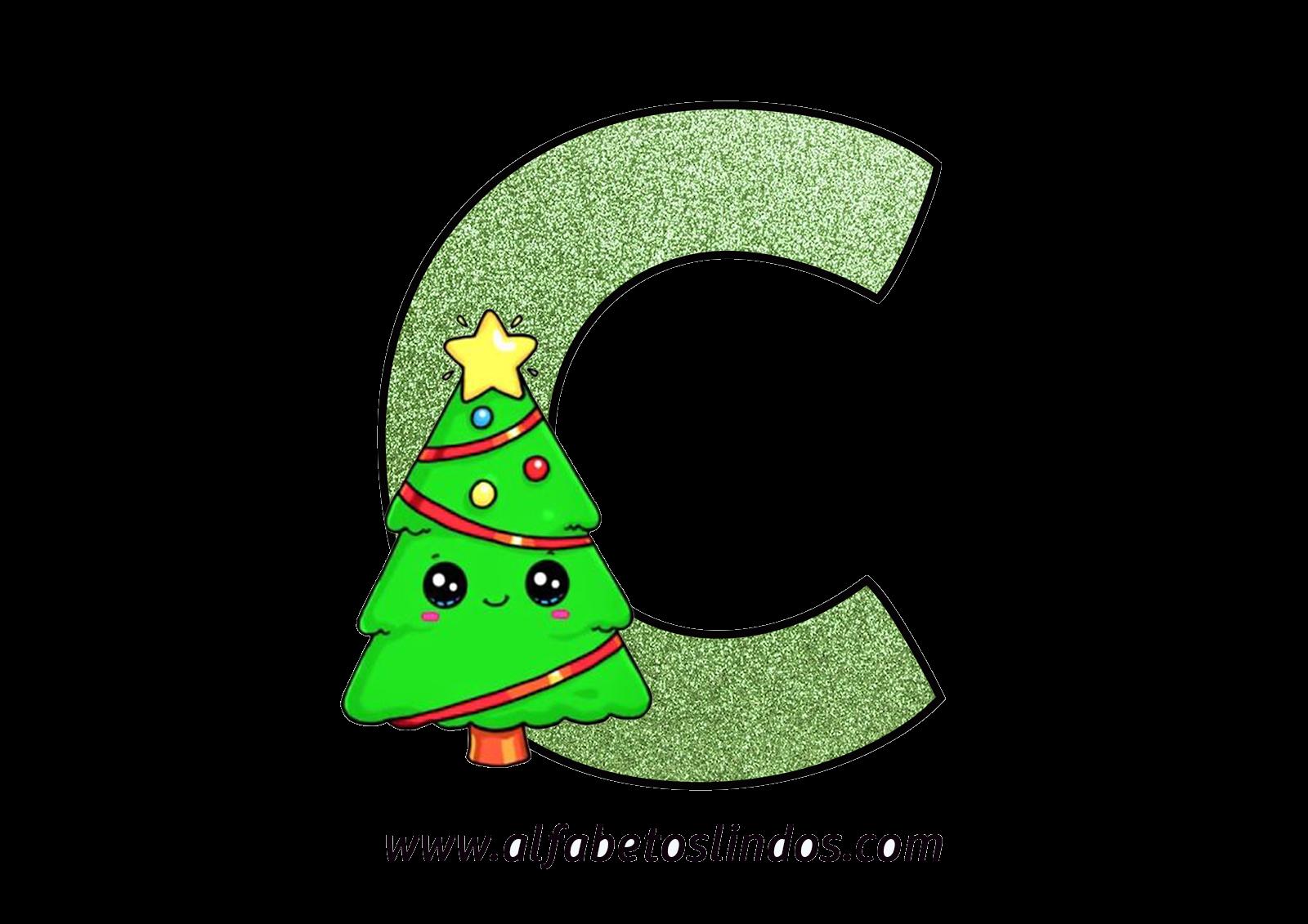 Alfabeto Decorativo árvores De Natal Letras Em Png Efeito