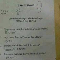 Soal Ujian SD Lucu