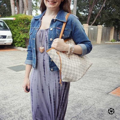 awayfromblue Instagram tie dye maxi dress, lv neverfull and denim jacket