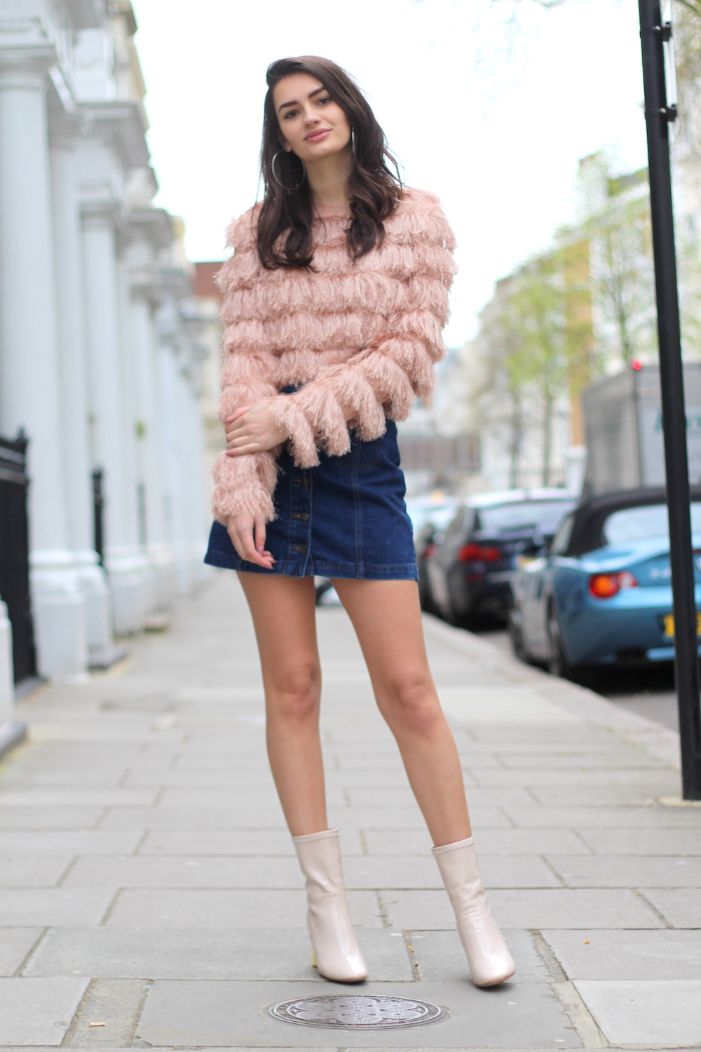 denim mini skirt fluffy blush jumper