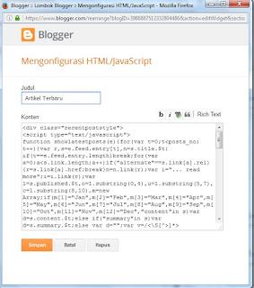 Membuat  Widget Postingan Terbaru Pada  Blog