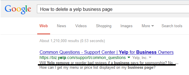 Yelp Google Search Results