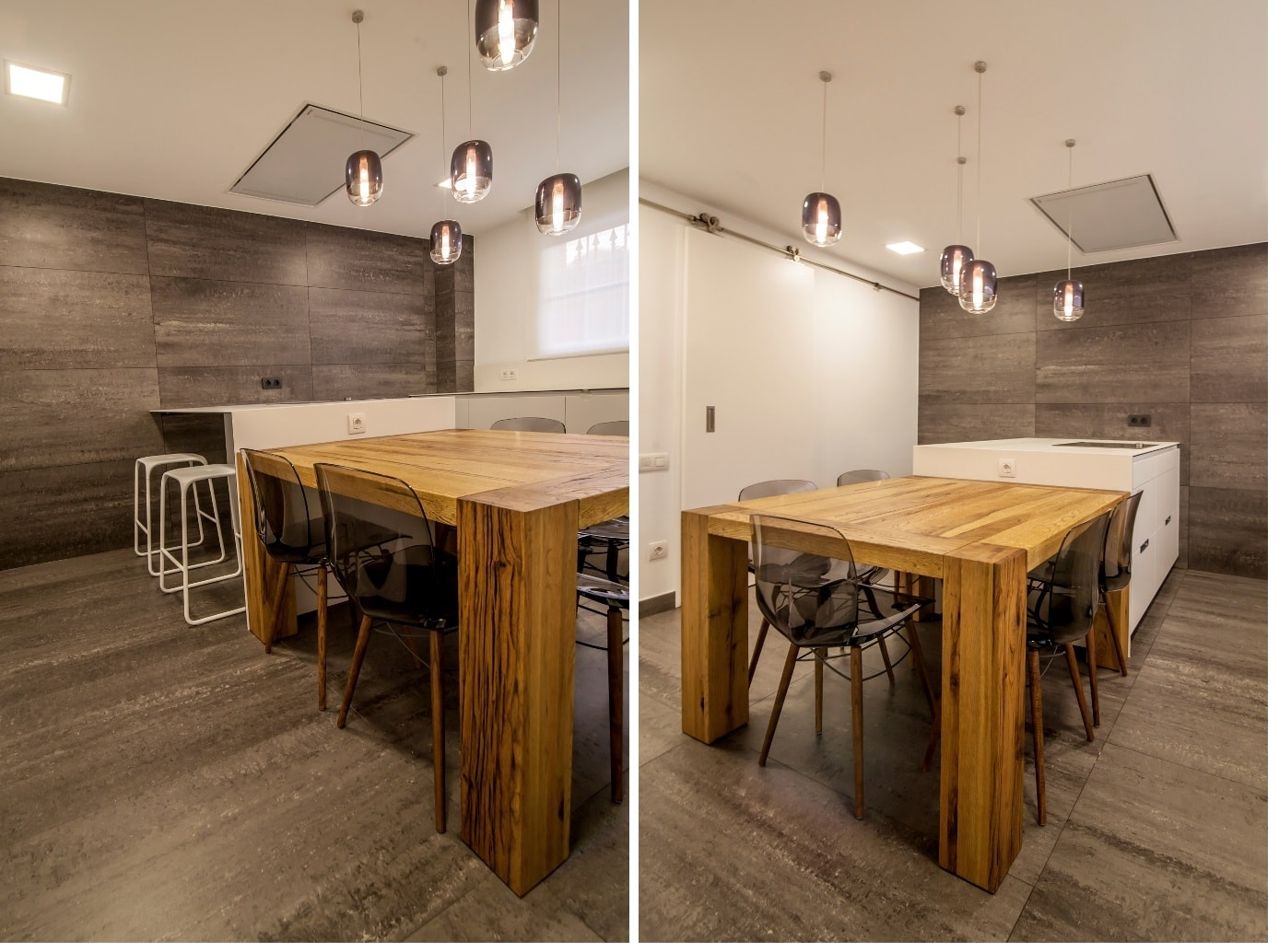 Mesas de madera un complemento ideal para las cocinas for Mesas de cocina blancas