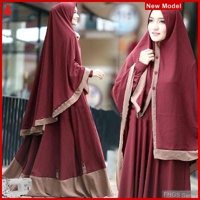 FHGS9182 Model Syari Layla Maron, Perempuan Baju Muslim Jersey BMG