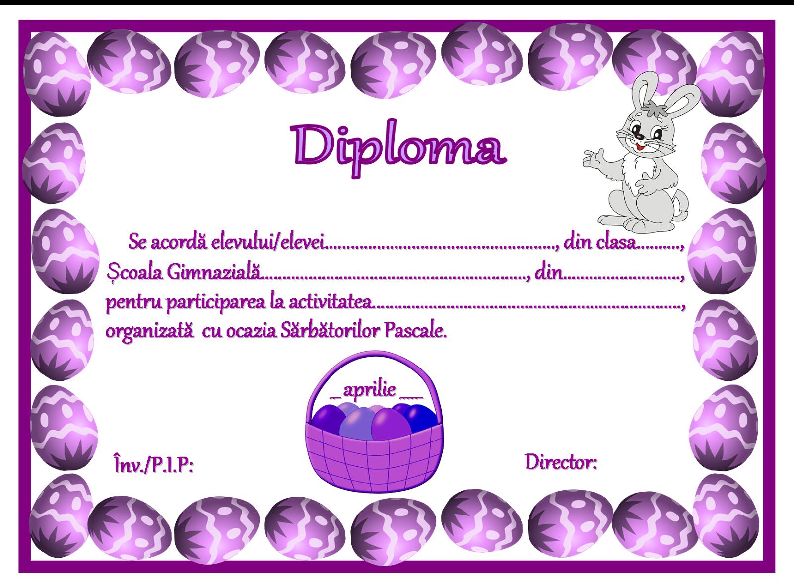 Diplomă de Paște