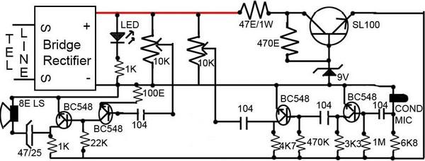 Simple Loudspeaker Circuit For Telephone Circuit Diagram