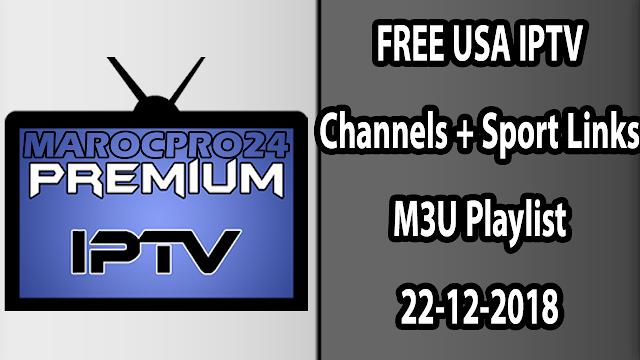 FREE USA IPTV Channels + Sport Links M3U Playlist 22-12-2018