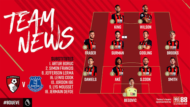 Premier League 2018/19: Bournemouth starting XI vs Everton