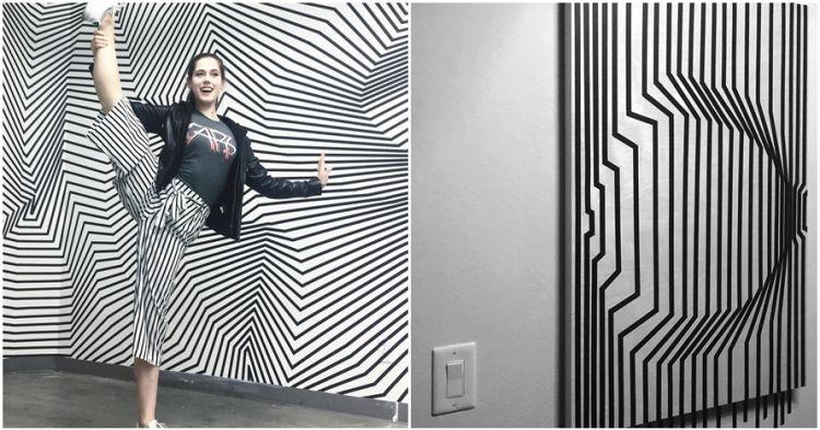 Hanya pakai selotip hitam, 10 karya seni ilusi optik ini bikin kagum