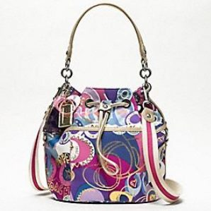 2c18f3795 COACH POPPY POP C CINCH DRAWSTRING SHOULDER BAG 18314. RM850 Coach Poppy  Pop C Print Fabric with Gold Accents