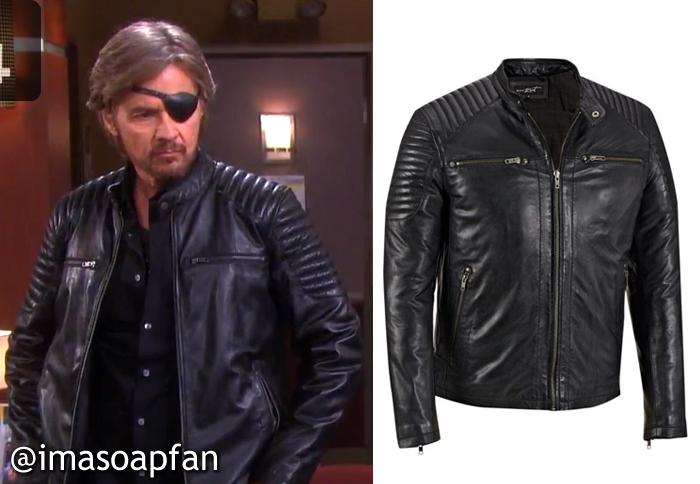 88cbccffc3e27 During these scenes, Steve was wearing a black leather jacket with quilted  shoulders by Black Rivet. It's currently on sale.