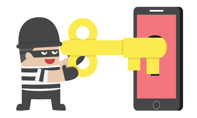Picture of thief unlocking a smartphone with giant golden key