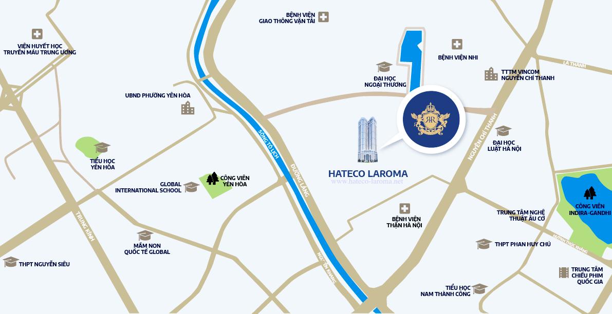 Chung cư Hateco Laroma Chùa Láng - so sánh vị trí dự án