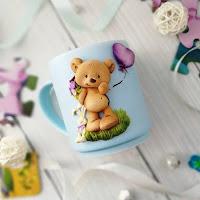 Tazas decoradas con arcilla polimérica o porcelana fría