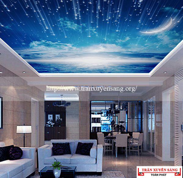 Mẫu thiết kế trần nhà biệt sự sử dụng tấm xuyên sáng in hình mưa sao băng