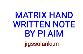 INTRODUCTION OF MATRIX HAND WRITTEN NOTE