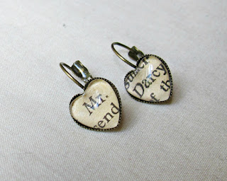 image earrings heart literature leverback two cheeky monkeys mr darcy jane austen book page