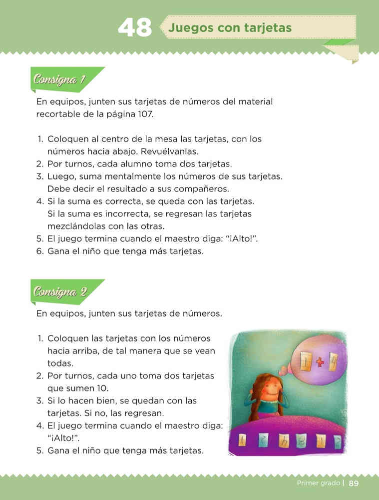 Libro de textoDesafíos MatemáticosJuegos con tarjetasPrimer gradoContestado