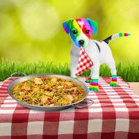 El perro arcoíris sonríe en Cice con una paella