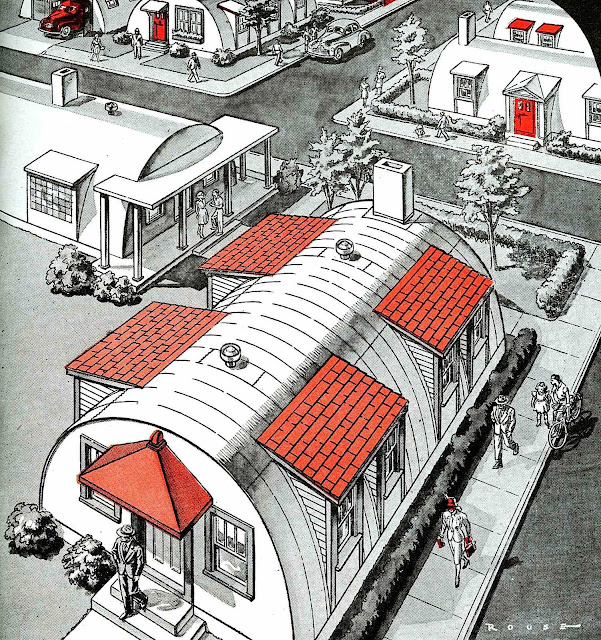 An illustration of army surplus Quonset huts for civilian homes, 1940s