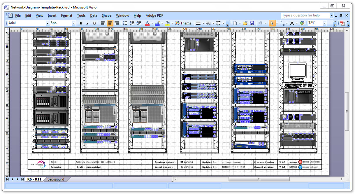 Visio Template Logic Diagram Data Center Rack Stencils Cosmecol