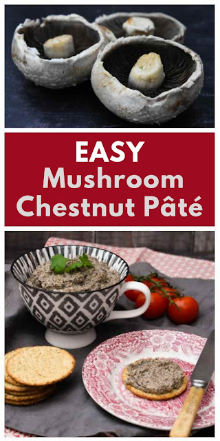 An easy mushroom and chestnut pâté made in minutes and blended until smooth. Serve with oatcakes, use as a sandwich filler or top veggie burgers with this delicious veggie pâté. #veganpate #mushroompate #vegetarianpate #mushroomspread #veganChristmas #vegetarianChristmas #Christmasrecipe #mushrooms #chestnuts