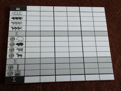 アグリコラ 牧場の動物たち (点数計算表)