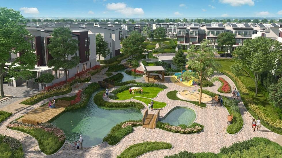 Không gian hồ và suối nước trong khu biệt thự song lập SD44 Gamuda Gardens