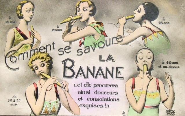 Antigua postal francesa cómo comerse una banana