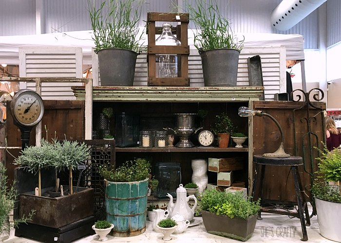 topiaries, vintage container, plants, vintage cupboard