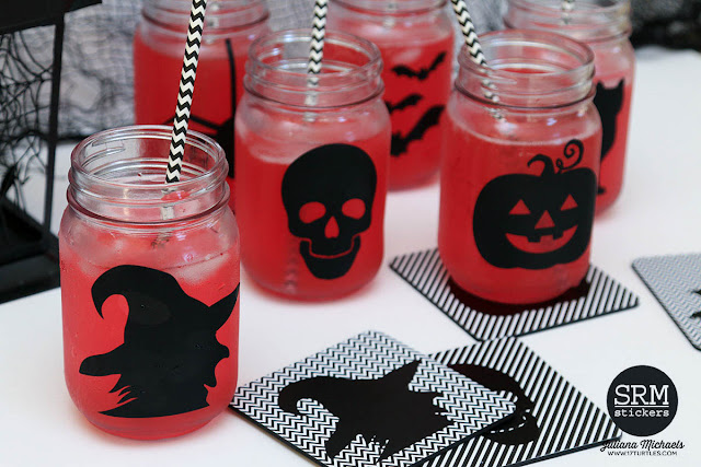 Halloween Mason Jar Drinking Glasses and Coasters decorated with adhesive vinyl and Silhouette Cameo by Juliana Michaels