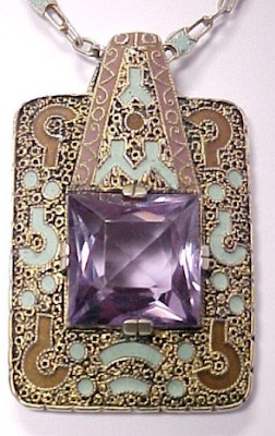 Theodor Fahrner Art Deco sterling silver, amethyst, and enamel necklace.