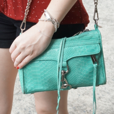 Rebecca Minkoff mini MAC in aquamarine with python embossed leather | away from the blue