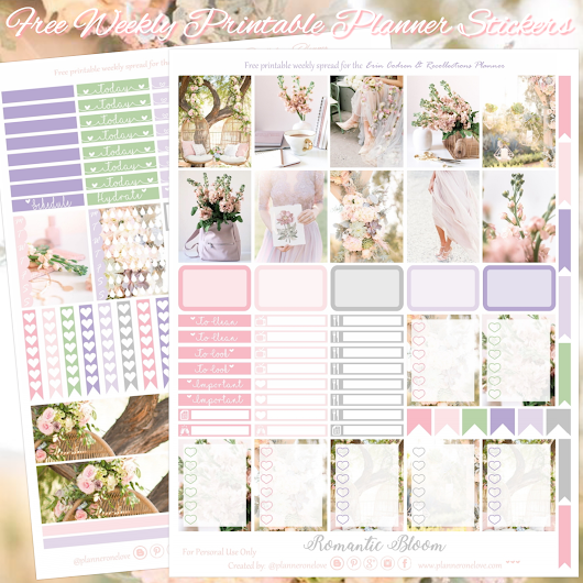 Planner Onelove: Free Pink & lilac, Romantic Bloom Printable Planner Stickers for EC & Recollections Planner