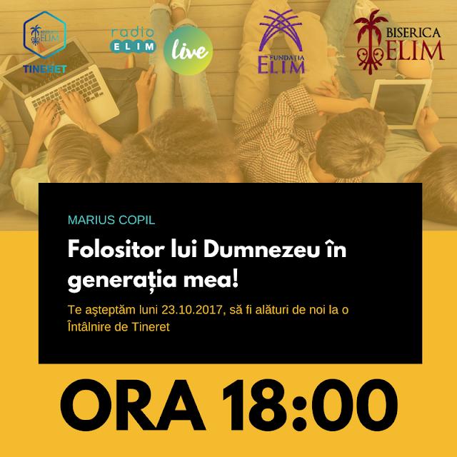 Seară de tineret la Biserica Elim Timișoara - 23 oct 2017