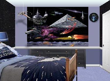 star wars tapet rymden space rymdskepp fototapet barnrum barntapeter killrum