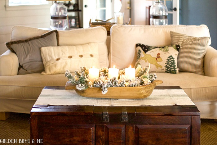 Casual Ikea slipcovered sofa in Christmas Home Tour at GoldenBoysandMe.com