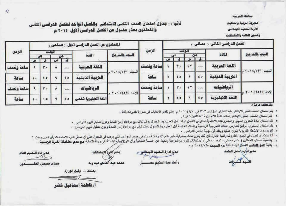 جدوال امتحانات المرحلة الابتدائية الترم الثانى 2014محافظة الغربية 1977261_852923671389