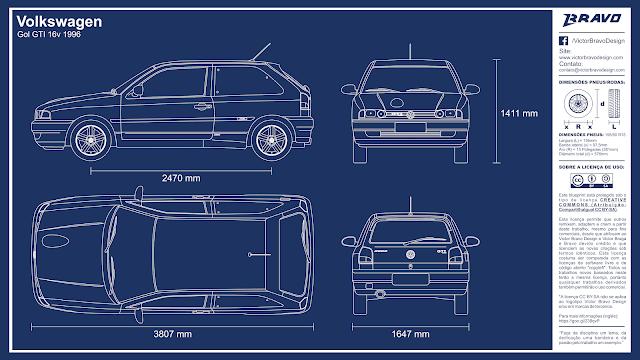 Imagem mostrando o desenho do blueprint do Volkswagen Gol GTI 16v 1996
