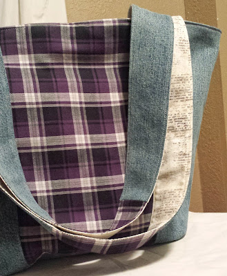 refabulous fabric fast, no buying fabric in 2018, eco-tote from shirt and jeans, purple plaid and newsprint
