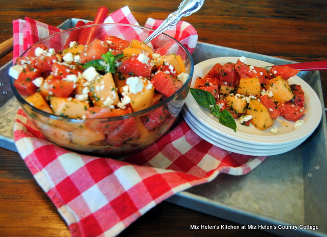Melon Salad with Basil Dressing at Miz Helen's Country Cottage