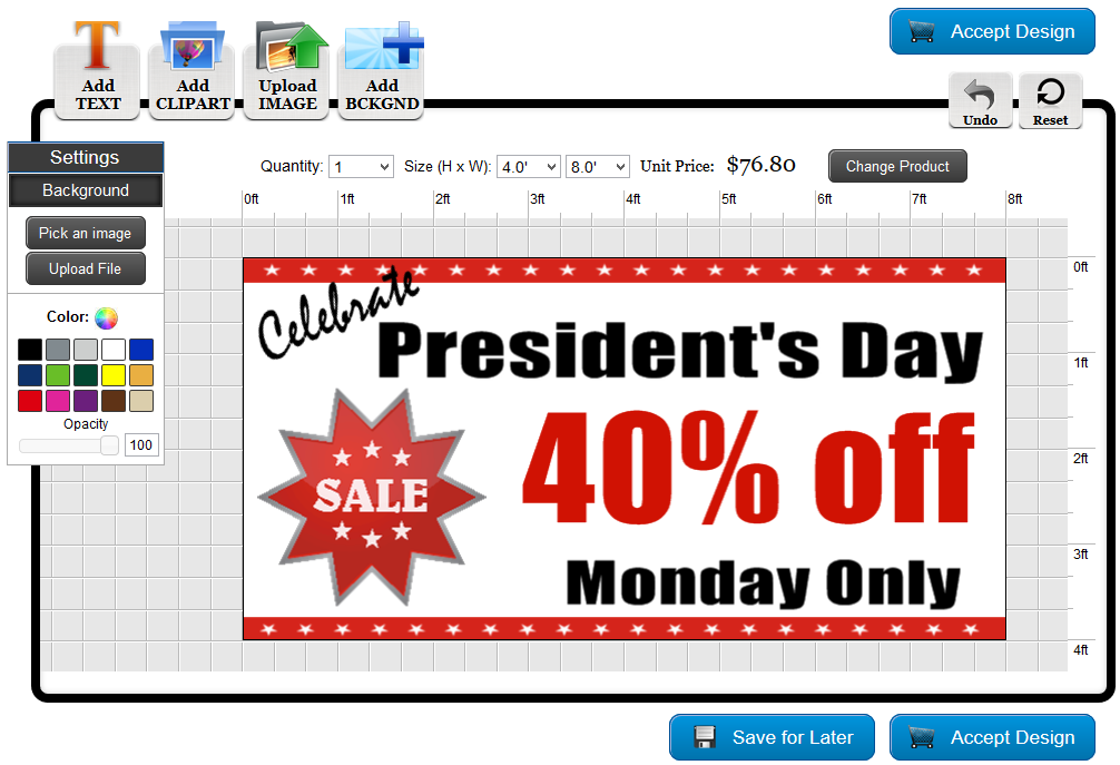 Presidents' Day Banner Template in the Online Designer