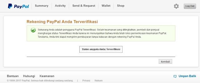 Status Akun PayPal Terverifikasi