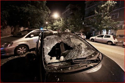 The large ice meteor emitted a loud explosion boom as it destroyed the windshield of the Toyota Aygo.