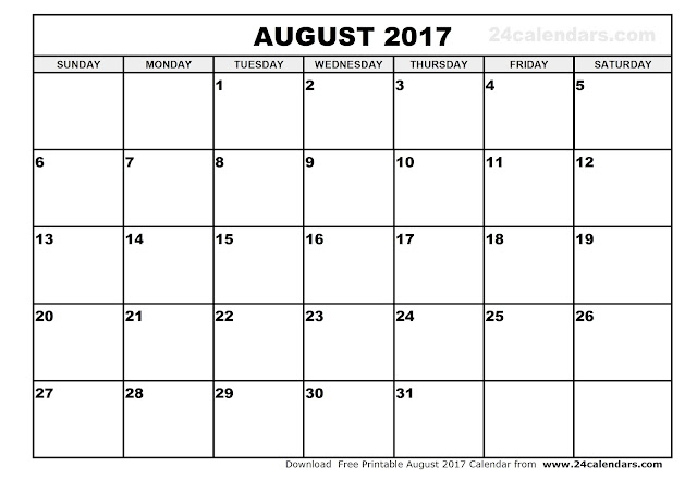 August 2017 Calendar, 2017 Calendar. Calendar 2017, Monthly Calendar 2017