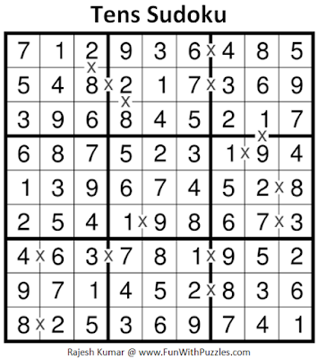 Tens Sudoku (Fun With Sudoku #189) Puzzle Answer