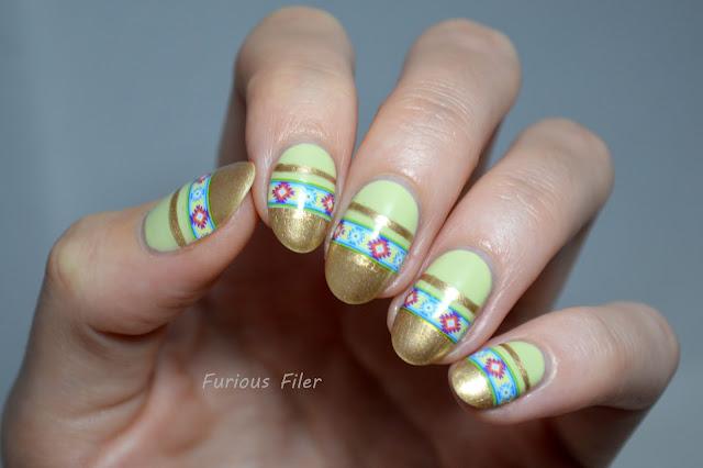 tribal native pattern nail art gold stripes green